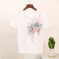 O neck appliques embroidery sequined t shirt women short sleeve tops 2019 summer new arrival