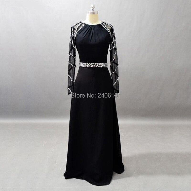 Brillant cristal noir a-ligne robe de soirée manches longues robe de soirée de mariage taille personnalisée
