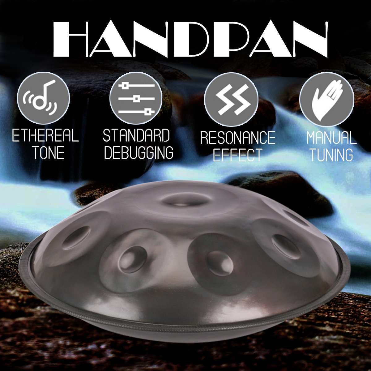 Main Handpan Instrumento Antique Fa majeur Ré Mineur Hang Drum 9 Notes Musique Main pan Batterie Percussion Instruments de Musique 432 hz