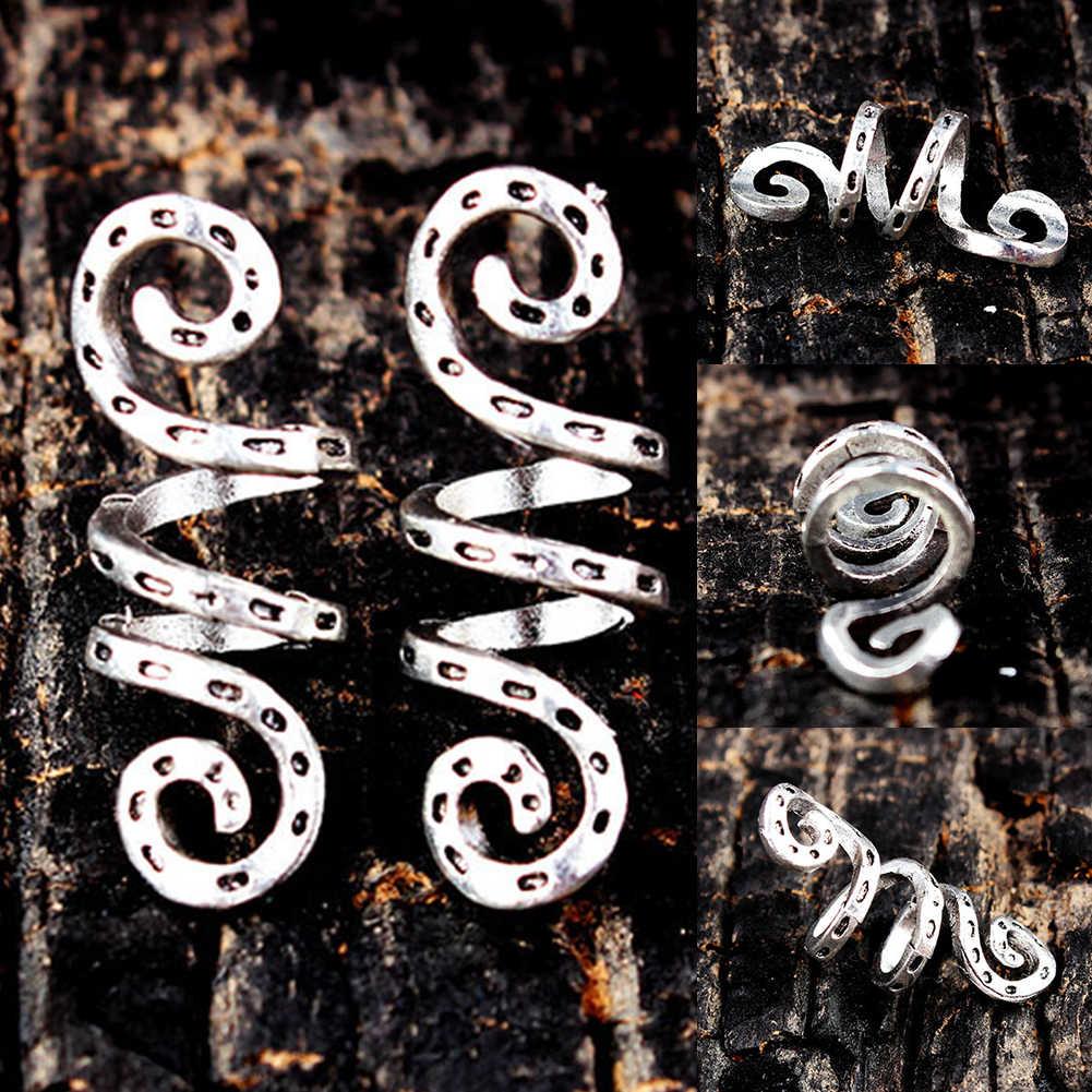 5 шт. Винтажные бусины-клипсы аксессуары серебряные бусины спиральная трубка сплав волос кольцо дредлок коса парик