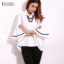 ZANZEA Women Shirt Tops Blusas Ladies Elegant Bell Sleeve Blouse Casual Work White Shirts Patchwork Black Striped Blusa Feminina