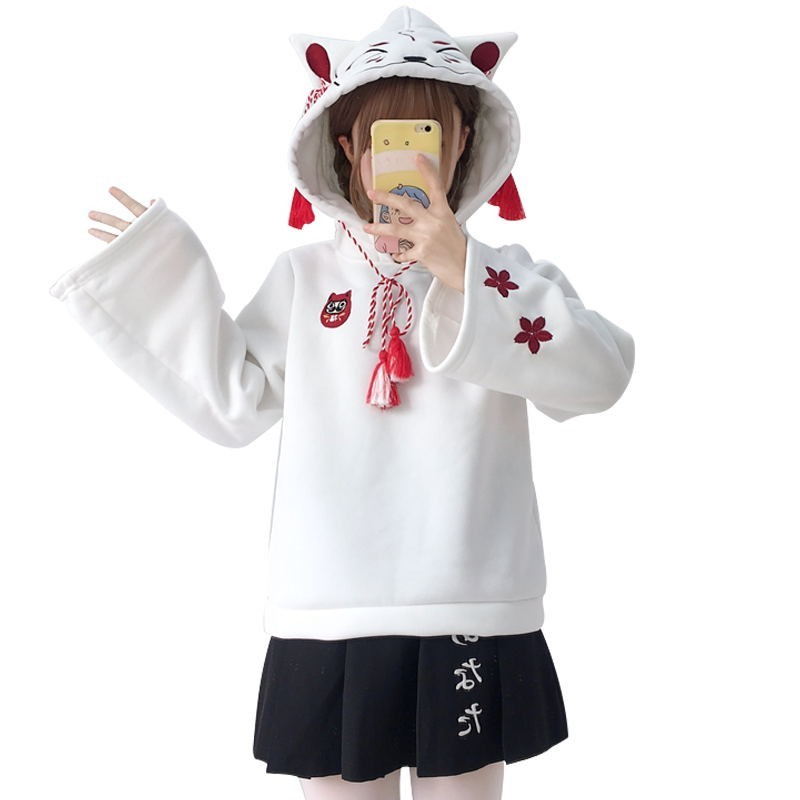 Japanese Cute Street Fashion Women Hoodies Harajuku Kawaii Fox Ear Hooded Sweatshirt Sakura Embroidery Plus Velvet Pullover Tops