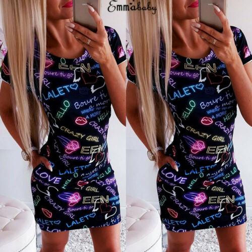 New Fashion Women Ladies Bodycon Short Sleeve O neck Letter Printed Party Club Summer Short Mini Dress