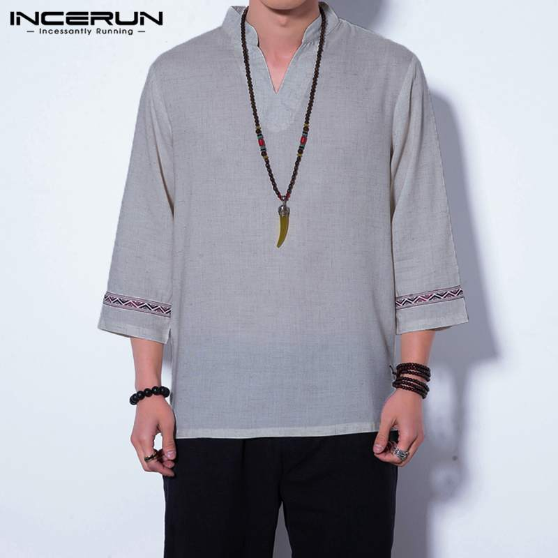 INCERUN Casual Men T Shirt Vintage V-neck 34 Sleeve Chinese Style Male Tee Shirt Patchwork Leisure Cotton Loose T-shirt S-5XL
