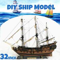 New DIY Handmade Assembly Ship 32 Scale Wooden Sailing Boat Model Kit Ship Handmade Assembly Decoration Gift For Children Boy