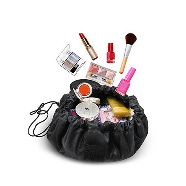 Portable Makeup Bag Lazy Drawstring Cosmetic Bags Waterproof Travel Organizer Pouch For Women Black