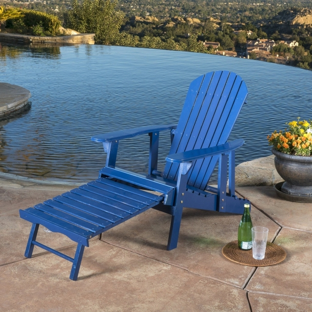 Denise Austin Home Katherine Outdoor Reclining Wood Adirondack Chair With Footrest Dup 2