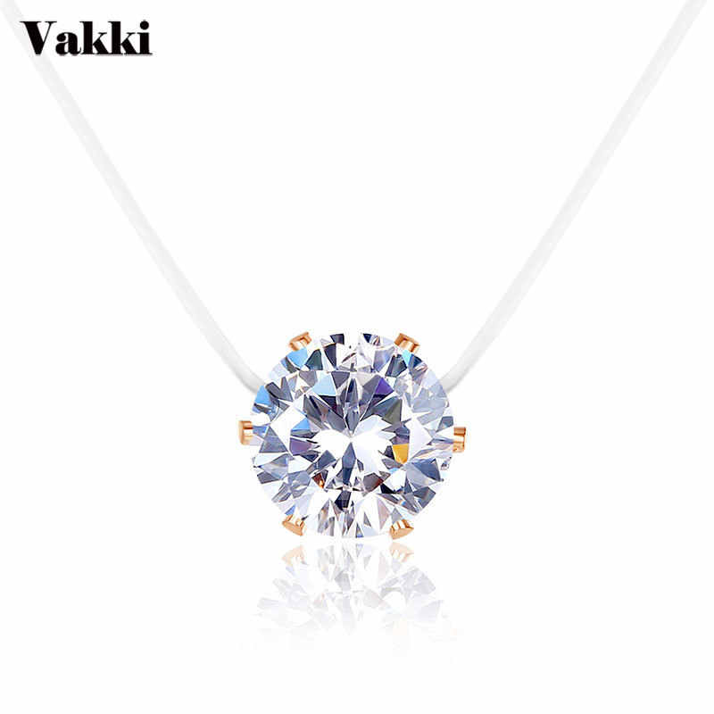 2019New Personality Fashion Shining CZ Stone Crystal Zircon Necklace Invisible Transparent Fishing Line Chain Necklace For Women