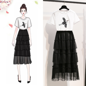 spring and summer fairy France fashion women two pcs clothing set print white T shirt & black long skirt vestidos outfit S-XL