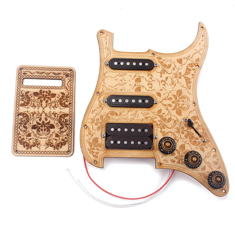 SSH Prewired Loaded Pickguard Humbucker Pickups Wood Pickguard Back Plate Scratch Plate Protector Back Cover for