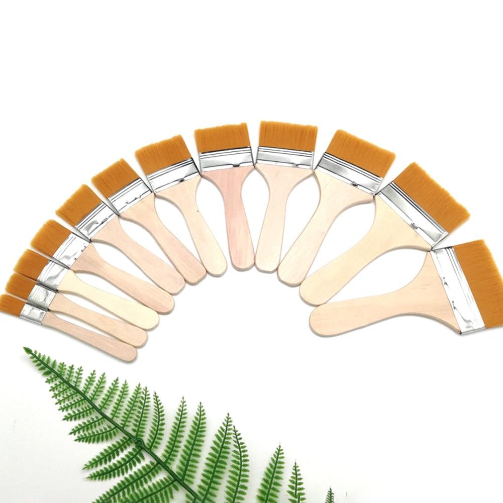 12pcs Acrylic Portable Nylon Paint Brush Soft Wood Handles Art Supplies Oil Painting Watercolor