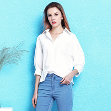 Nordic winds fashion white-collar white shirt female 2019 spring and summer new loose casual blouse longer in the rear NW19B6079