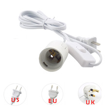 E27 кабель питания, светодиодный светильник, лампочка, базовый переключатель, провод, Штепсель для электрической розетки, ЕС, США, Великобритании, Конвертеры, 1,8 м, держатель лампы, 110 В, 220 В