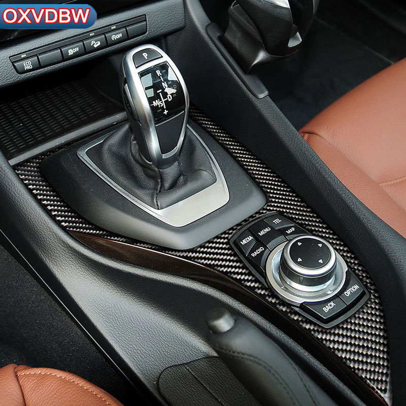 Pour bmw E84 X1 Carbone fibre accessoires de voiture Autocollants styling Couvercle Décoratif trim Bande De Voiture Contrôle de Changement de Vitesse Panneau 2011- 2015