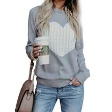 Knitting Heart Printed Sweater Casual Round Neck Women Winter Clothes Pull Femme Hiver Harajuku Jumper Fall Fashion Rz*