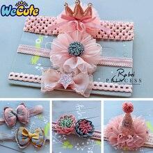 Wecute Princess Headband Baby Girls Elastic Crown Flower Hair Band Cute Beauty Headwear Gift Child Kids Bow Glitter Turban