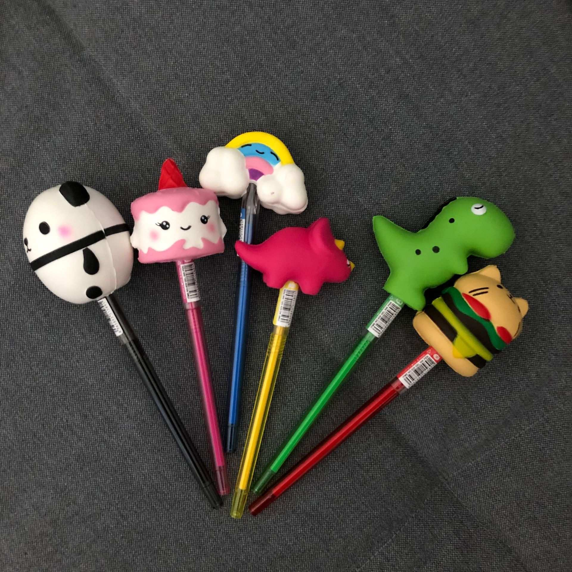 Squishying Pen Cap Panda Dinosaur Cake Animal Slow Rising Jumbo With Pen Stress Relief Toys Student School Supplies Office Gift(China)