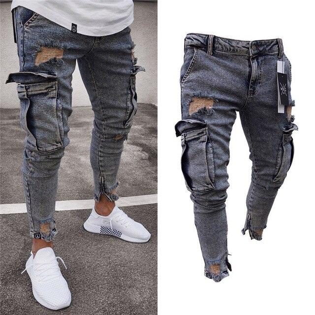 Long Pencil Pants Ripped Jeans Men's Hiphop Trousers