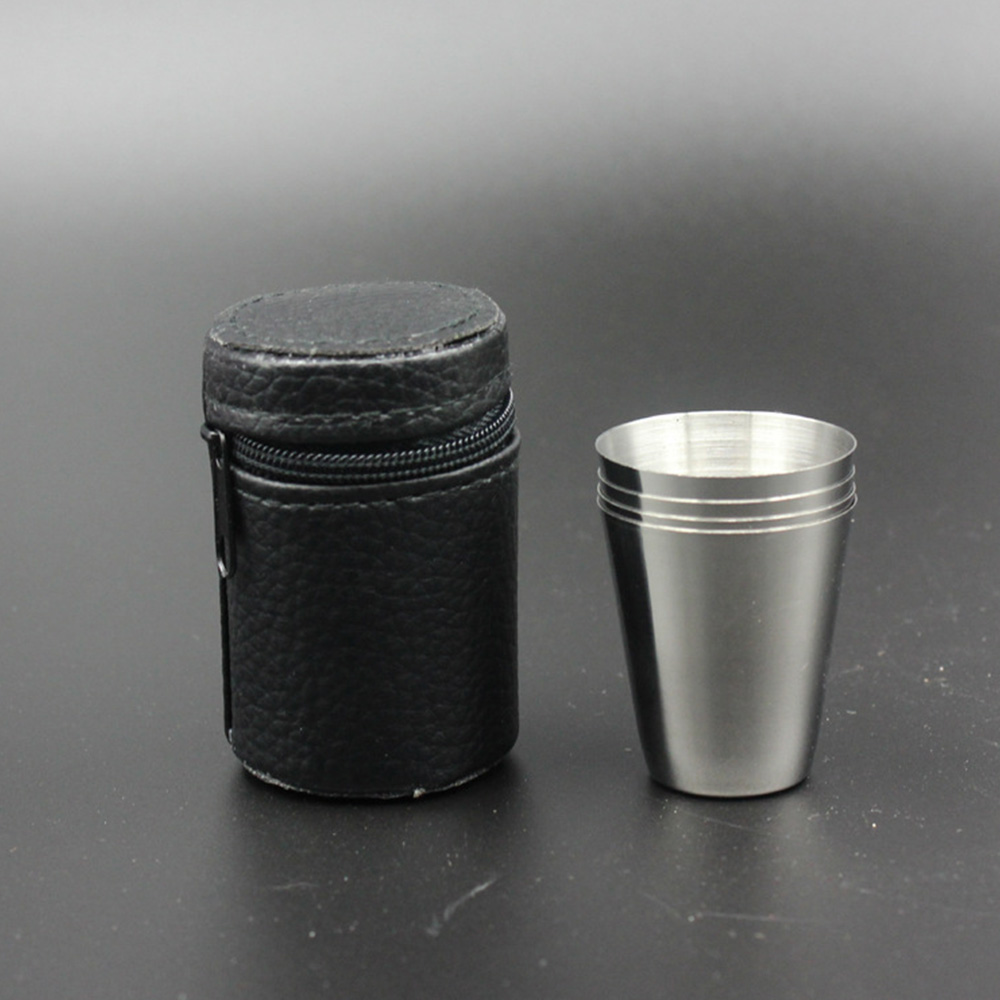 4Pcs Stainless Steel Mini Cup Mug Drinking Coffee Beer Tumbler Camping Travel