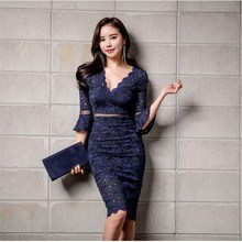 Hot Sale Summer V-Neck Flare Sleeve Midi Dress Hollow Out Women Patchwork Mesh Lace Blue/Apricot Pencil Dresses