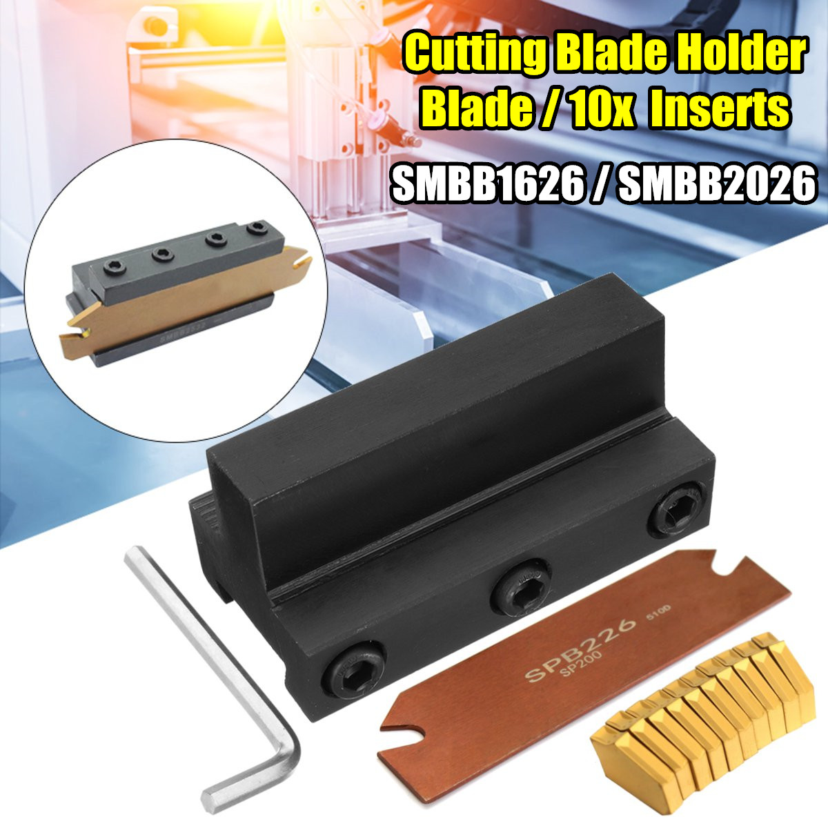 SMBB1626/SMBB2026 Cutting Blade Holder+Cut-Off Cutter Blade Inserts For GTN-2
