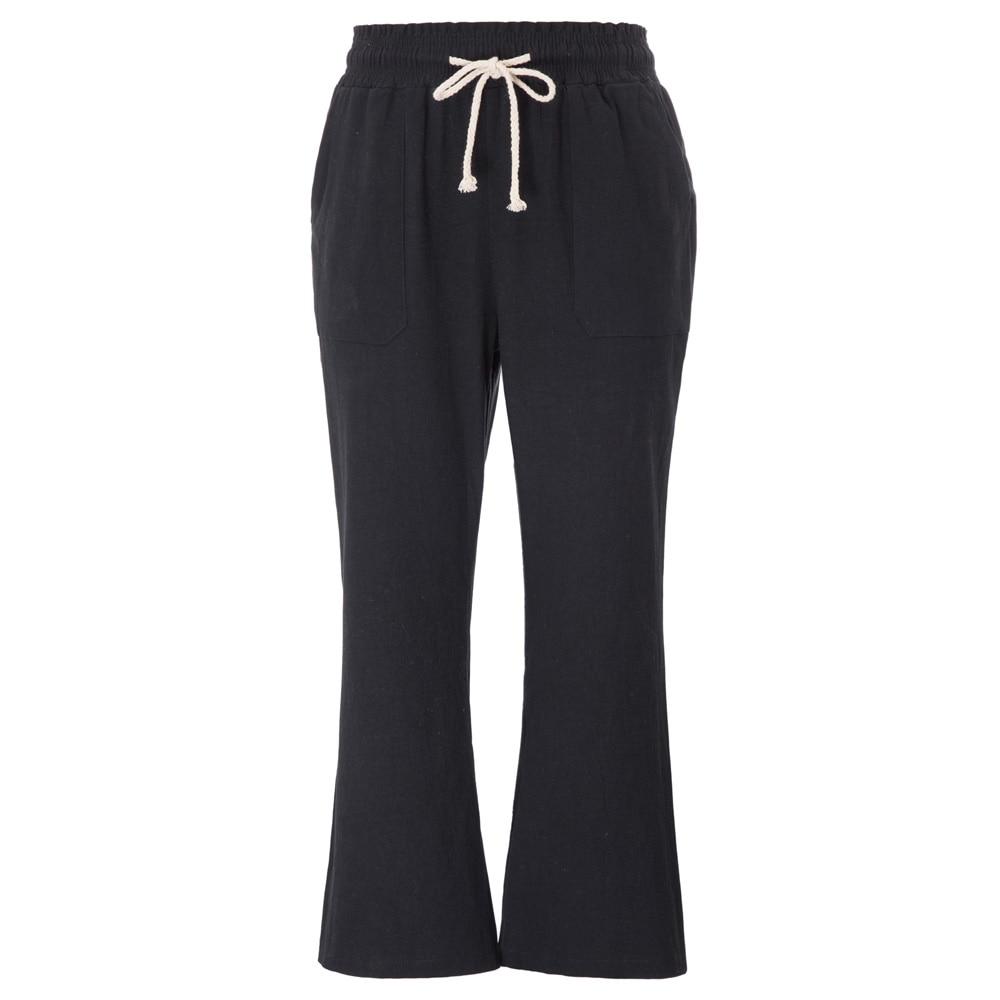 GK Women Flare   pants   Smocked Waist Elastic Waist Low-Rise Cropped   Pants   Cotton   Capri
