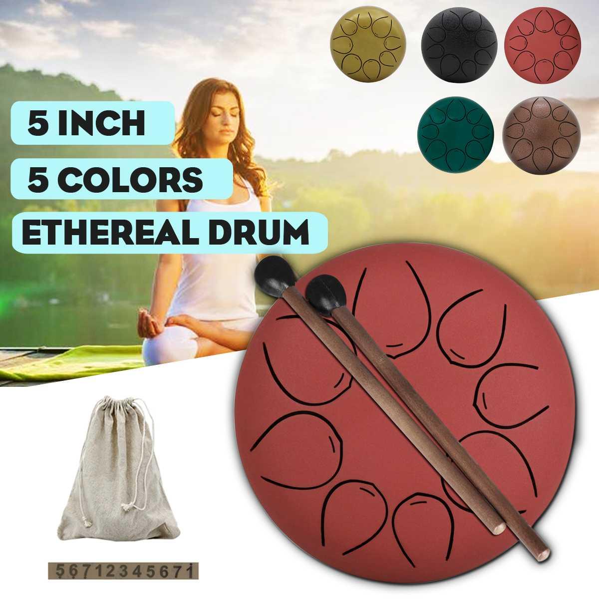 5 pouces C clé langue tambour Mini 8 tons en acier main Pan tambour Instrument à Percussion avec bâton de tambour + sac
