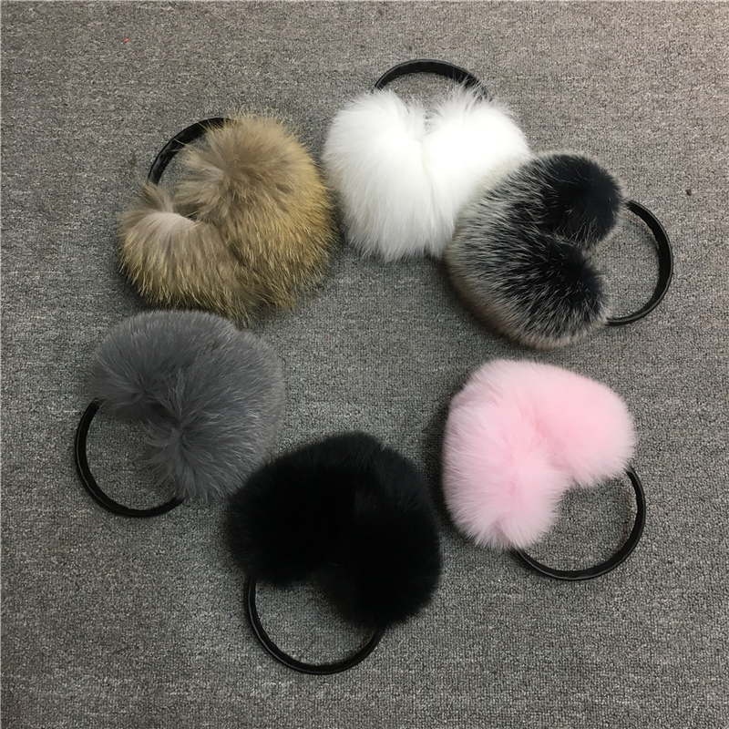 IANLAN Winter Fluffy Soft Fur Earmuffs For Womens Real Fox & Raccoon Fur Earmuffs Girls Earflaps Ladies Ear Warmers IL00511
