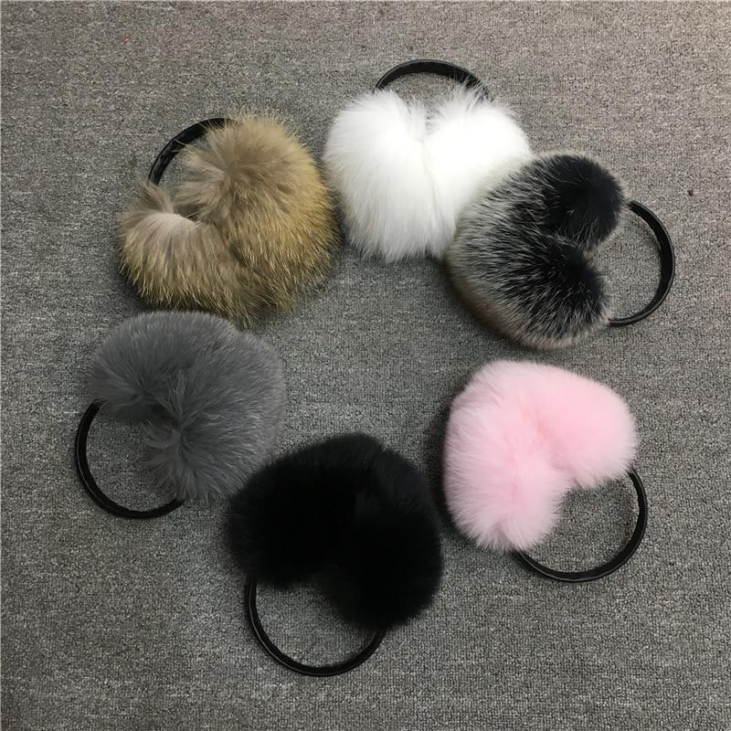 IANLAN Winter Fluffy Soft Fur Earmuffs For Womens Real Fox & Raccoon Fur Earmuffs Girls Earflaps Ladies Ear Warmers IL00511