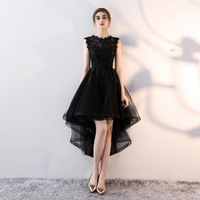 Vintage Black Organza Lace Womens Girls Dresses High Low Ruffles Sexy See Through Sleeveless Evening Party Dresses