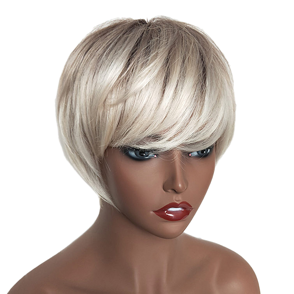 Natural Short Bob Wigs Human Hair Pixie Cut Wig for Women w/ Bangs 8 inch Silver стоимость