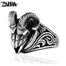 ZABRA Sheep Head Ring 925 Sterling Silver Hip Hop Evil Sheep Skull Ring Skeleton Animal Vintage Viking Signet Ring Biker Jewelry newest design fire flaming skull ring 925 sterling silver cool fashion men biker skull head ring