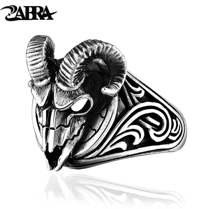 ZABRA anneau tête de mouton 925 argent Sterling Hip Hop mal mouton anneau crâne squelette Animal Vintage Viking chevalière anneau Biker bijoux
