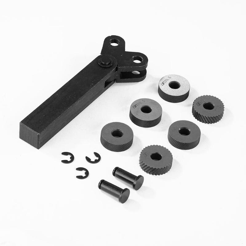 Dupla Roda Knurling Tool Kit 7pcs 0.5 milímetros 1mm 2mm Roda Pitch Linear Knurl Conjunto Torno de Aço cortador de Roda Knurling Tool Set