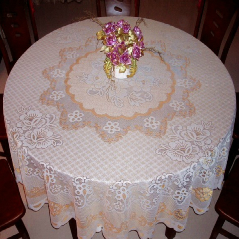 HOT Round 240cm Clean Lace Luxury Cutwork Embroidery Tablecloth Kitchen Restaurant, Christmas Party, Wedding Decoration Tapete