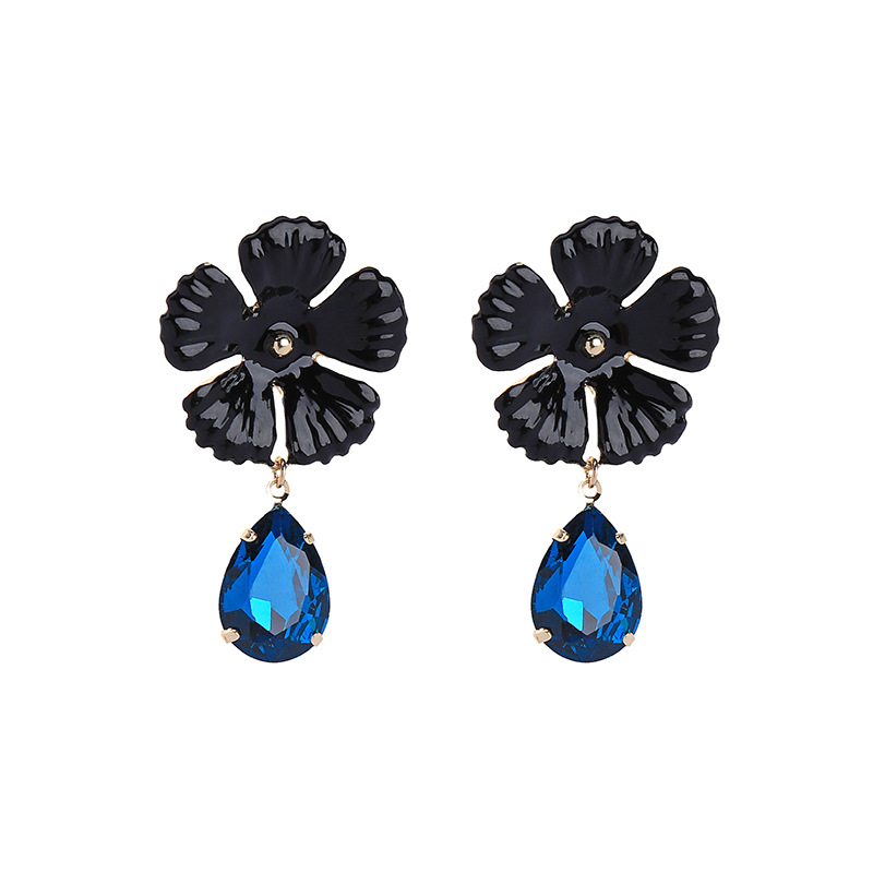 Brand New Design Charm Earrings Shiny Austrian Crystal Rhinestone Big Fashion Jewelry Women Water Drop Flower Earring
