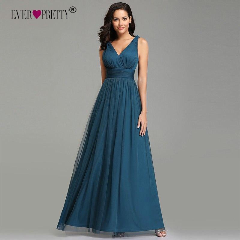 Elegant Evening Dress Long 2020 Ever Pretty Simple A-line V-neck Sleeveless Teal Tulle Wedding Party Gowns Vestidos Elegantes