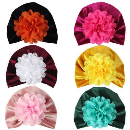 Warm Soft ทารกแรกเกิดเด็กวัยหัดเดินเด็กทารกเด็กทารกเด็ก Turban หมวกผ้าฝ้าย Beanie หมวกฤดูหนาวใหม่ลูกไม้ดอกไม้กำมะหยี่น่ารักหมวก