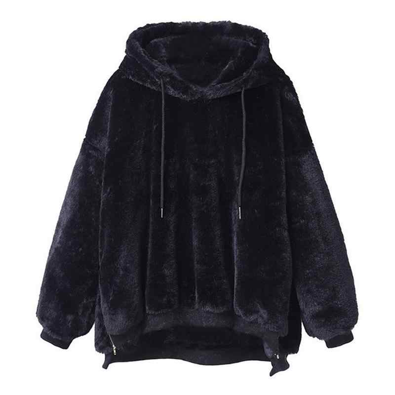 Black Women Plus Velvet Hooded Hoodies Sweatshirt Winter Double-Faced  Velvet Sweatshirt Solid Long- a91564343