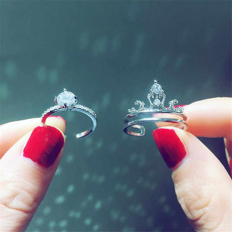 2-in-1 Crown ring sets 925 Sterling silver AAA cz Party Wedding Band Rings for women Bridal Engagement Finger Jewelry Gift