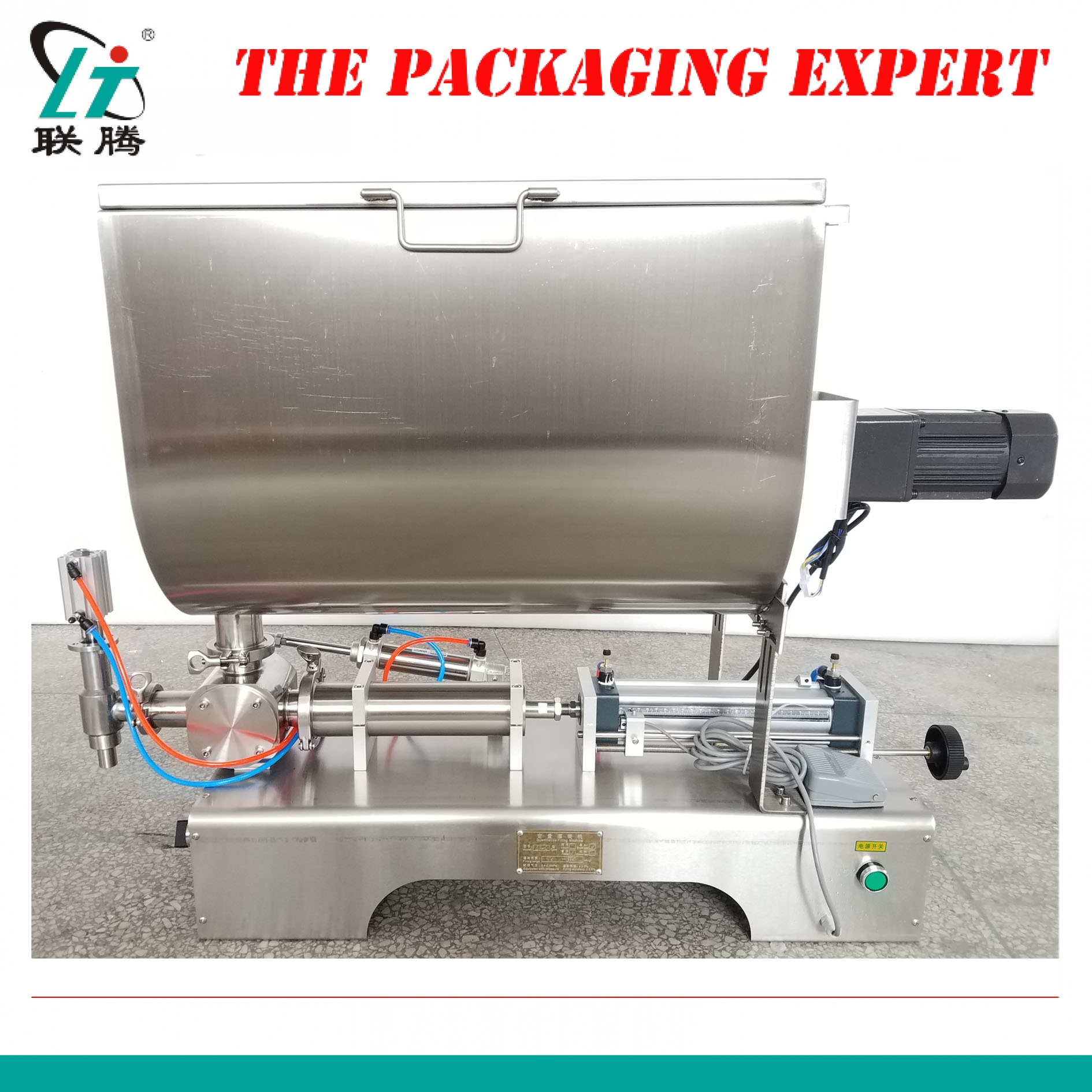 Chilli Sauce Filling Machine 80l Mixing Hopper Filler Meat Paste Grease Peanut Butter Hot Pepper Thick Broad Bean Free Shipping