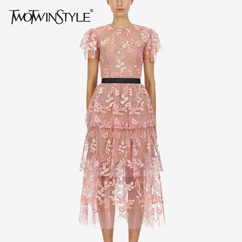 TWOTWINSTYLE Mesh Embroidery Patchwork Women Dress High Waist O Neck Short Sleeve Midi Dresses Female Fashion