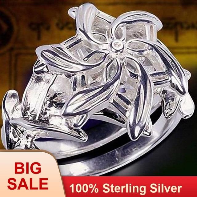 Fine Jewelry 100% จริง 925 Soild เงินสเตอร์ลิงแหวน LOTR The Galadriel Nenya Zircon Ennagement แหวน