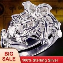 Fine Jewelry Women 100% Real 925 Soild Sterling Silver rings LOTR The Galadriel Nenya Zircon Ennagement Wedding Band Ring