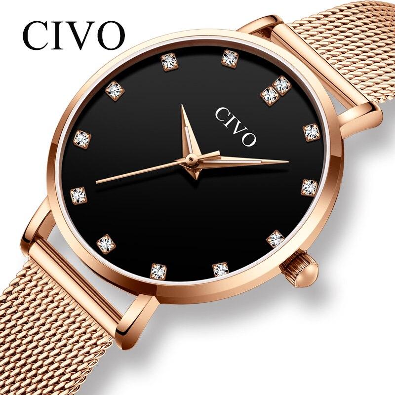 CIVO Luxury Diamond Quartz Watch Women Waterproof Slim Wristwatch Rose Gold Steel Mesh Bracelet Hand Clock Ladies Dress Watches