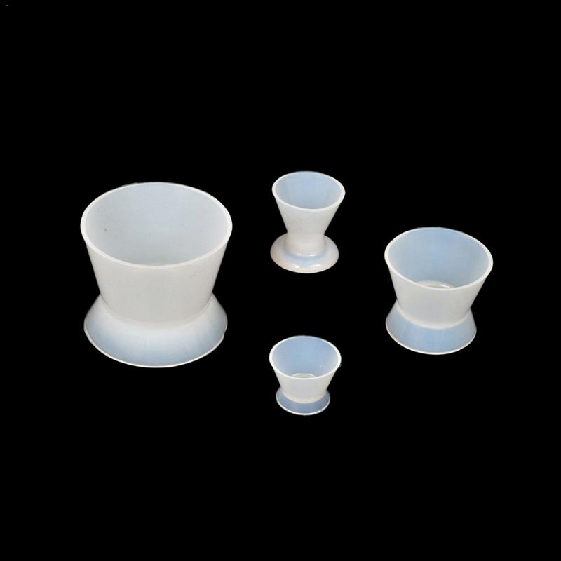 Health Care 4 Pieces Dental Silicone Cups Self Adhesive Mixing Cup Silicone Rubber Mixing Cups