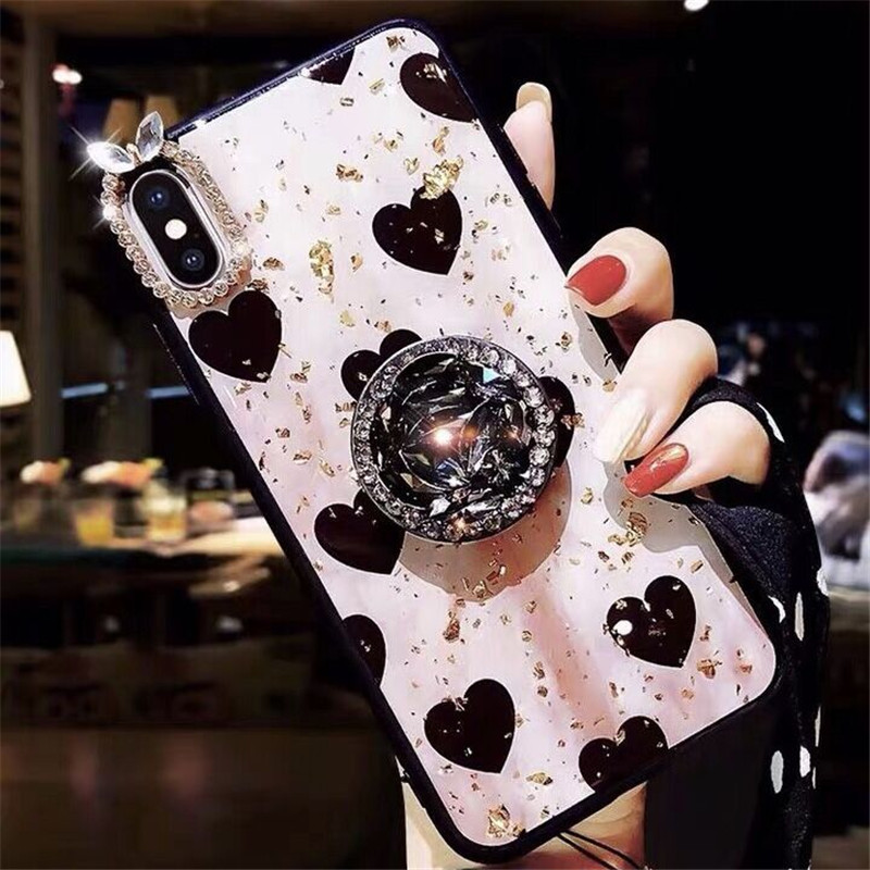 ins hearts Luxury Crystal stand gold foil jelly Case Back Cover Shell For iPhoneXs max 8plus 6s 7Plus XR Body Skin Protector in Fitted Cases from Cellphones Telecommunications