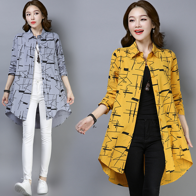 #2923 Spring 2019 Long Sleeve Print Vintage Shirt For Women Plus Size Loose Casual Tunic Asymmetrical Blouse