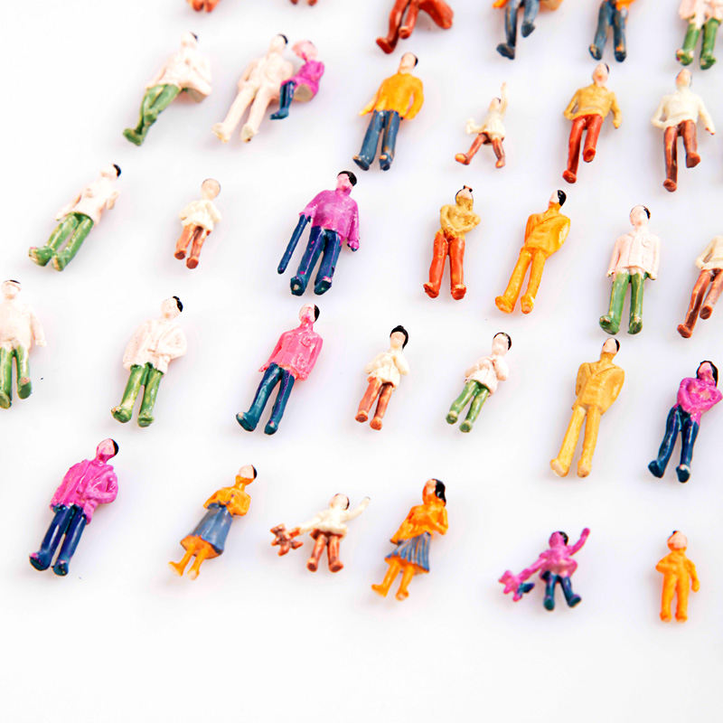 100Pcs Painted Model People HO Scale 1:100 Building Layout Model People Train Painted Figure Passenger
