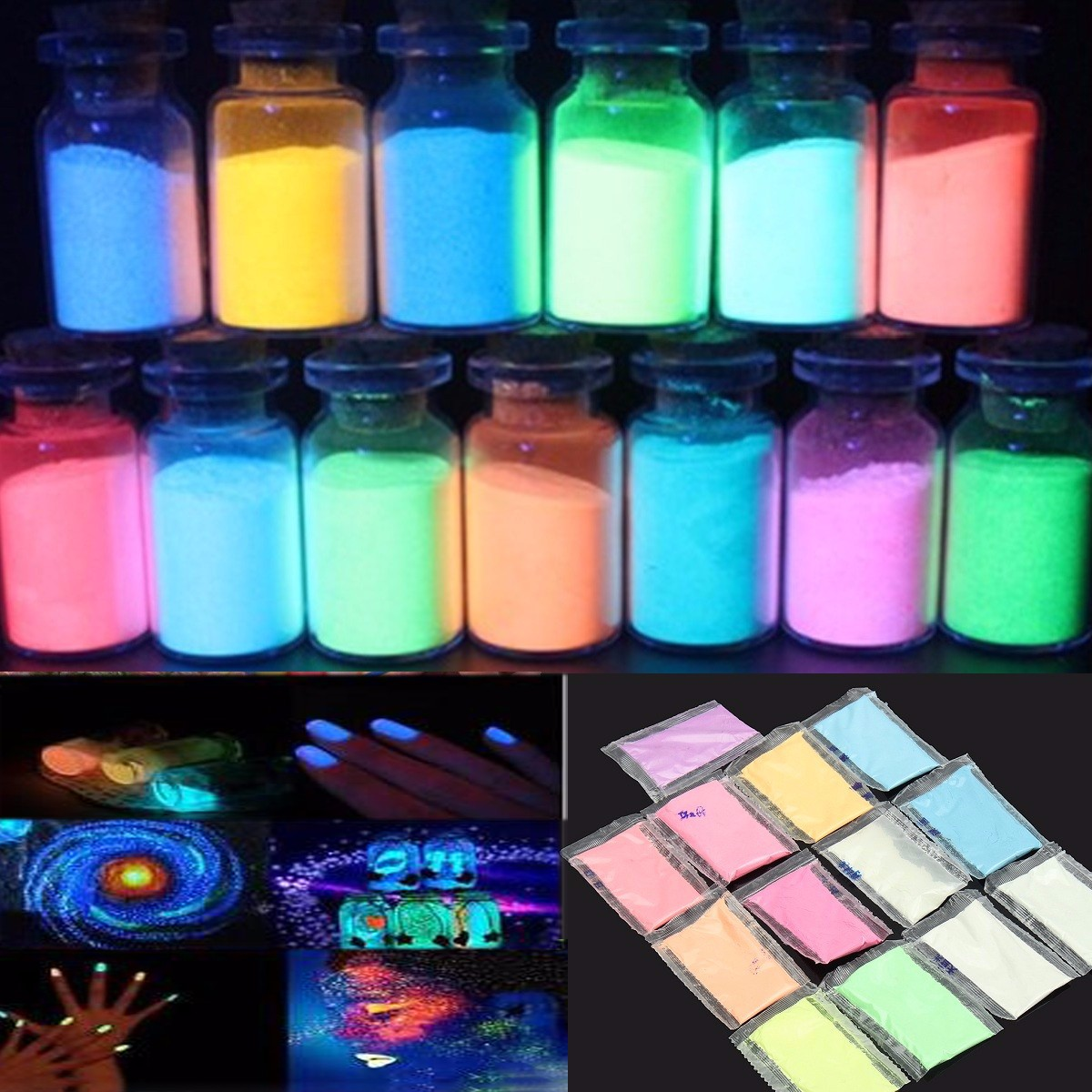 13package/set Phosphor Luminous Powder For Party DIY Decoration Paint Print Random Colors Night Coating